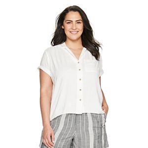 Plus Size Sonoma Goods For Life® Drop-Shoulder Camp Shirt