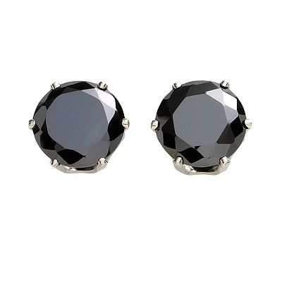 Silver Tone Cubic Zirconia Stud Earrings