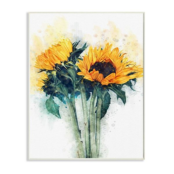 Stupell Home Decor Sunflower Assortment With Watercolor Accent Wood Wall Art