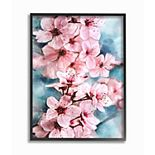 Stupell Home Decor Branch of Blooming Cherry Blossoms Pink Blue Framed Wall Art