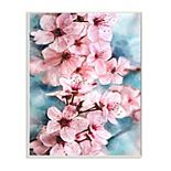 Stupell Home Decor Branch of Blooming Cherry Blossoms Pink Blue Wood Wall Art