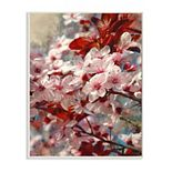 Stupell Home Decor Beautiful Flower Blossoms on Tree Branches Pink Red Wood Wall Art