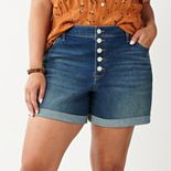 Plus Size EVRI? Button-Fly Cuffed Jean Shorts