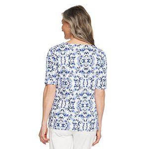 Women's Croft & Barrow® Elbow-Sleeve Splitneck Top