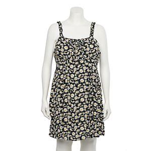Juniors' Plus Size WallFlower Printed Gauze Prairie Padded Cup Dress