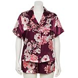 Plus Size Lilac+London Satin Pajama Shirt & Pajama Shorts Set