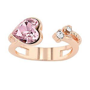 Brilliance Textured Open Heart Ring with Swarovski Crystals