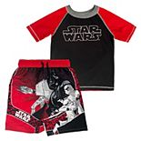 Boys 4-7 Star Wars Rash Guard Top & Swim Trunks Set
