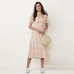 Petite LC Lauren Conrad Smocked Flutter-Sleeve Dress