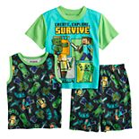 Boys 6-12 Minecraft Survive Time Tops & Bottoms Pajama Set