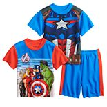 Boys 4-10 Marvel Avengers Heroes Line Up Tops & Bottoms Pajama Set