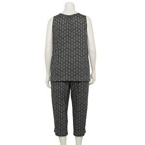Plus Size Croft & Barrow® Mixed Print Pajama Tank & Pajama Pants Set