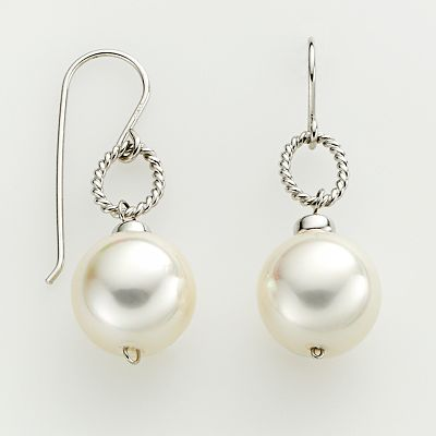 Sterling Silver Simulated Pearl Drop Earrings