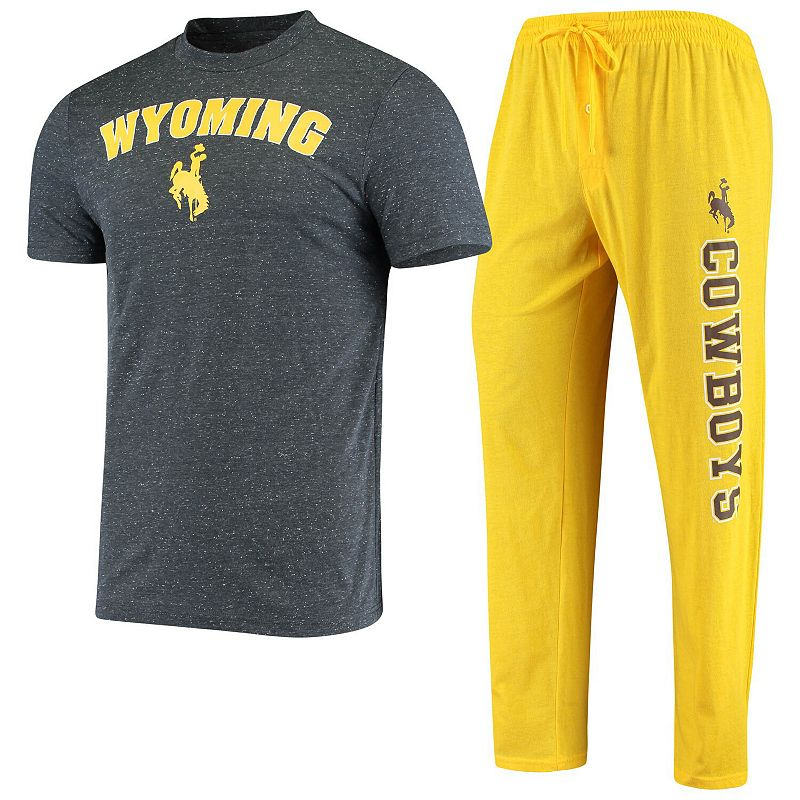 Men's Concepts Sport Gold/Charcoal Wyoming Cowboys Satellite Pants and T-Shirt Sleep Set. Size: Small. WYO Gold