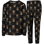 Youth Black Vegas Golden Knights Allover Print Long Sleeve T-Shirt and Pants Sleep Set