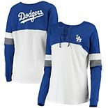 Women's New Era White/Royal Los Angeles Dodgers Lace-Up Long Sleeve T-Shirt