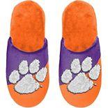 FOCO Clemson Tigers Color Block Big Logo Slippers