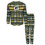 Toddler Green Green Bay Packers Holiday Long Sleeve T-Shirt and Pants Pajama Set