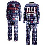 Men's FOCO Royal New York Giants Ugly Pajama Set