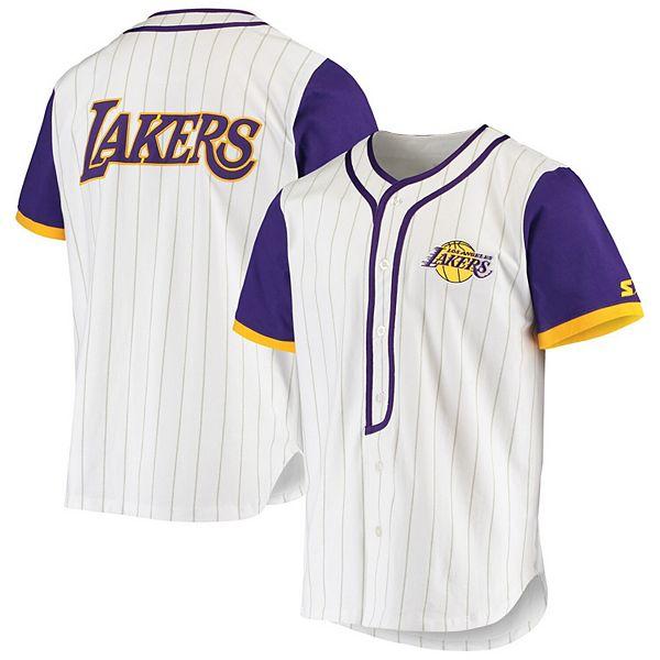 Men's Starter White Los Angeles Lakers Scout Baseball Fashion Jersey