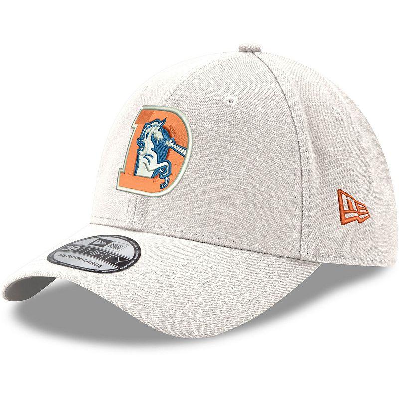 Men's New Era White Denver Broncos Throwback Logo Iced II 39THIRTY Flex Hat, Size: Medium/Large