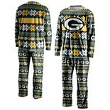 Men's FOCO Green Green Bay Packers Ugly Pajama Set
