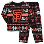 Toddler Black/Orange San Francisco Giants Allover Print Long Sleeve T-Shirt and Pants Sleep Set