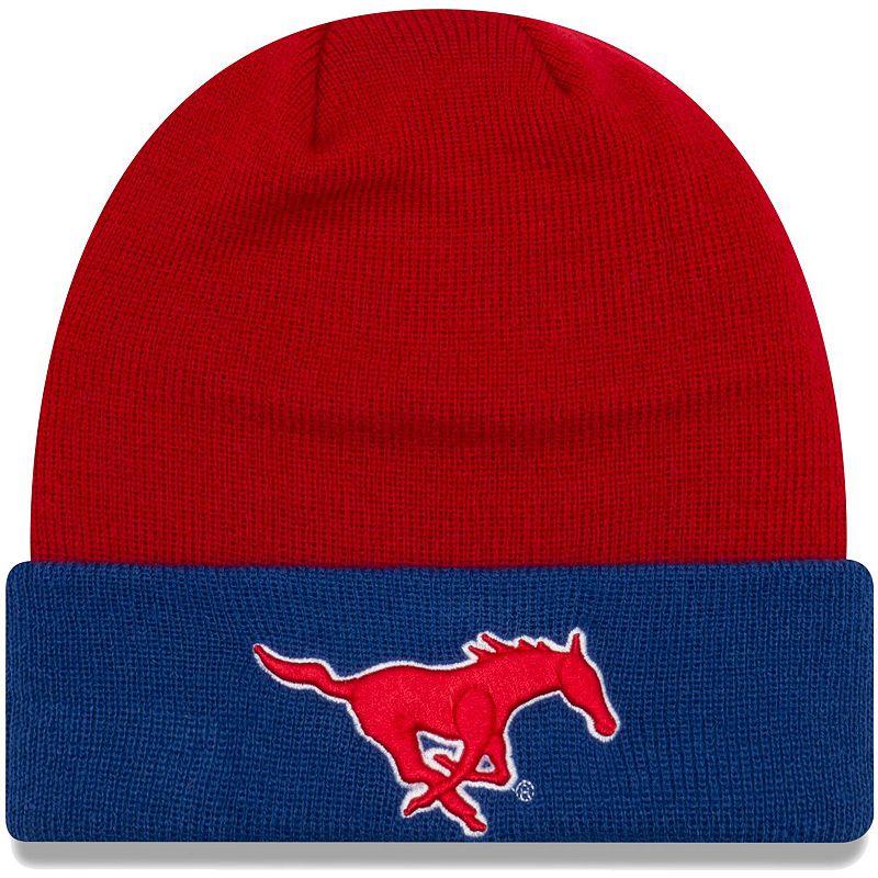 Men's New Era Red/Blue SMU Mustangs 2-Tone Cuffed Knit Hat