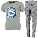Youth Heathered Gray Philadelphia 76ers Team T-Shirt & Pants Sleep Set