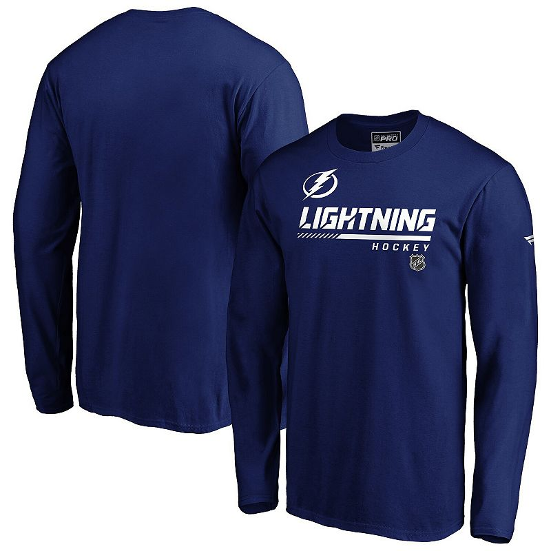 Men's Fanatics Branded Blue Tampa Bay Lightning Authentic Pro Core Collection Prime Long Sleeve T-Shirt, Size: 5XL