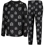 Youth Black Los Angeles Kings Allover Print Long Sleeve T-Shirt and Pants Sleep Set