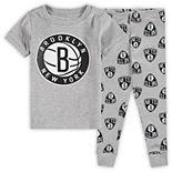 Preschool Heathered Gray Brooklyn Nets T-Shirt & Pants Sleep Set
