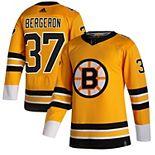 Men's adidas Patrice Bergeron Yellow Boston Bruins 2020/21 Reverse Retro Authentic Player Jersey