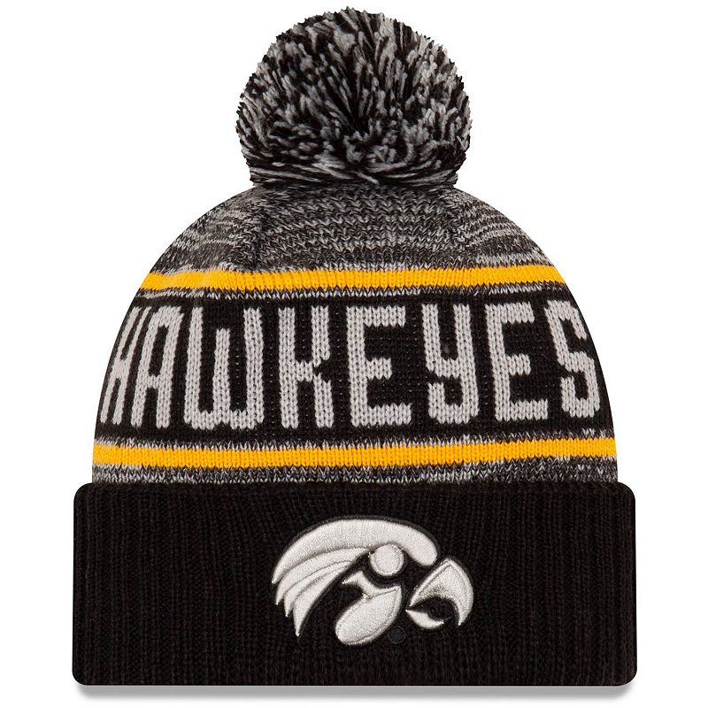 Men's New Era Charcoal Iowa Hawkeyes Snowburst Cuffed Knit Hat with Pom, Grey