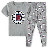 Preschool Heathered Gray LA Clippers T-Shirt & Pants Sleep Set