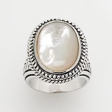 Silver-Tone Mother-of-Pearl Ring :  pearl ring cocktail ring accessories jewelry