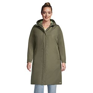 Plus Size Lands' End Hooded Long Insulated Raincoat