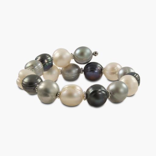 Sterling Silver Dyed Freshwater Cultured Pearl Wrap Bracelet