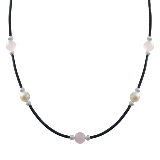 Sterling Silver Freshwater Cultured Pearl and Rose Quartz Necklace