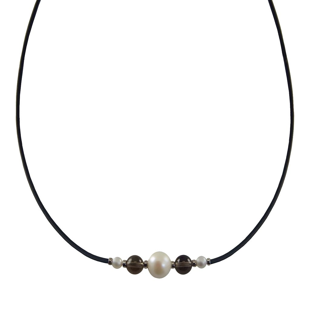 Sterling Silver Freshwater Cultured Pearl & Smoky Quartz Necklace