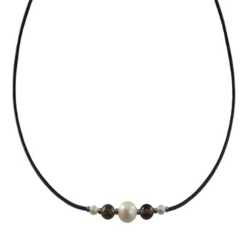 Sterling Silver Freshwater Cultured Pearl and Smoky Quartz Necklace