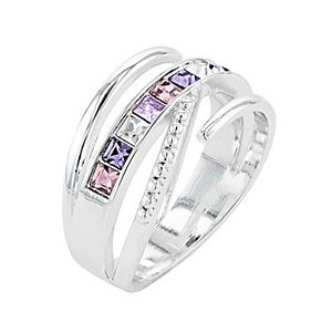 City Luxe Austrian Crystal Square Crossover Open Wrap Ring
