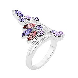 City Luxe Austrian Crystal Leaf Wrap Ring