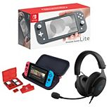 Nintendo Switch Lite with Kinetic 212 Wired Headset & RDS Deluxe Travel Case Bundle