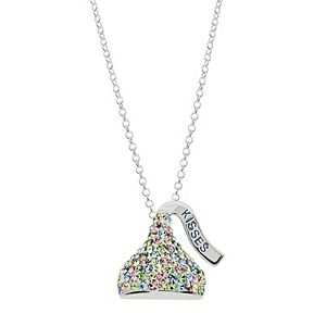 Sterling Silver Multicolor Crystal Hershey's Kiss Pendant Necklace