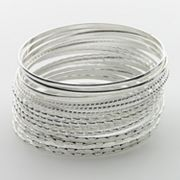 SO Silver Tone Bangle Bracelet Set
