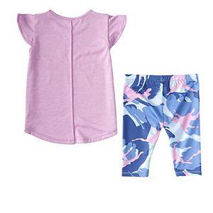 Toddler Girl adidas Tee & Camo Capri Tights Set