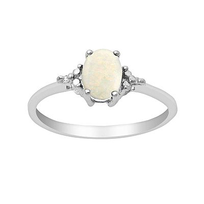 Sterling Silver 1/10-ct. T.W. Diamond and Opal Ring