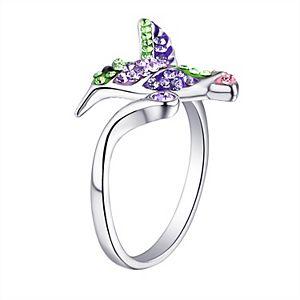 Silver Plated Crystal Hummingbird Ring