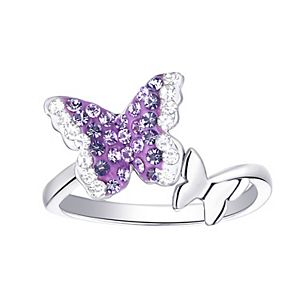 Silver Plated Crystal Double Butterfly Ring
